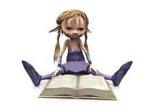 Cute cartoon girl reading book. Stock Photography