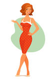Cute cartoon girl in retro dress Stock Image