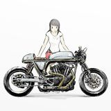Cute cartoon girl riding motorcycle. Hand drawing of Cute cartoon girl riding motorcycle Stock Image