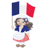 Cute cartoon girl in sans culottes costume Stock Photo