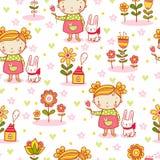Cute cartoon girl seamless pattern. Stock Image