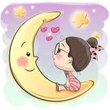 Cute Cartoon girl. Is sitting on the moon stock illustration