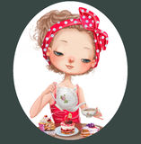 Cute cartoon girl Stock Images