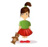 Cute cartoon girl with teddy bear Stock Photos