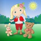 Cute cartoon girl with toys teddy bear and rabbit. Vector illustration Stock Images