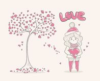Cute cartoon Girl and tree with hearts, character design, fashion graphic.  Royalty Free Stock Photography