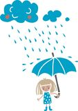 Cute cartoon girl under the rain Royalty Free Stock Images