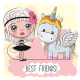 Cute Cartoon Girl and Unicorn. On a pink background Royalty Free Stock Photo