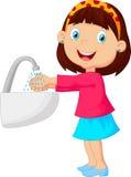 Cute cartoon girl washing her hands royalty free illustration