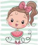 Cute Cartoon Girl with watermelon. On striped background vector illustration