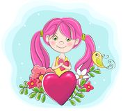 Cute Cartoon Girl With Heart Stock Image
