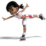 Cute Cartoon Girl With Inline Skates. 3D Stock Photo