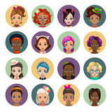 Cute cartoon girls avatars Royalty Free Stock Images