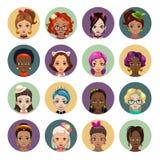 Cute cartoon girls avatars. Stylish women faces set, flat style Royalty Free Stock Images