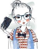 Cute cartoon girls. Cute fashion cartoon girls in sketchy style Royalty Free Stock Image