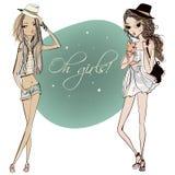 Cute cartoon girls Royalty Free Stock Photo