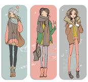 Cute cartoon girls Stock Images