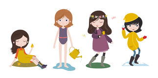 Cute cartoon girls and the four seasons. Stock Photos