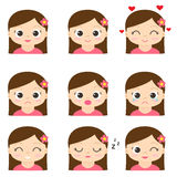 Cute cartoon girls. Cute cartoon girl in pink with different emotions. Vector set of emoji and emoticons Stock Photo