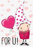 Cute Cartoon gnome with balloon heart Royalty Free Stock Image