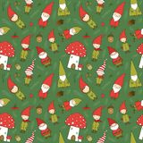 Cute cartoon gnomes. New Year s pattern. Christmas elves. Vector illustration. royalty free stock images