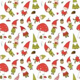 Cute cartoon gnomes. New Year s pattern. Christmas elves. Vector illustration. White background stock photography