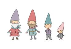 Cute cartoon gnomes. New Year set. Christmas funny elves. Vector illustration. royalty free stock photography