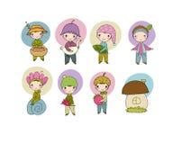 Cute funny cartoon garden gnomes. Funny elves stock image