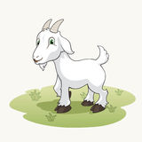 Cute cartoon goat on the grass Stock Images