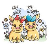 Cute cartoon golden baby pigs in love. It is a girl, it is a boy. 2019 year symbol. Cute cartoon golden baby pigs on a flower background. Vector illustration Stock Images