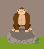 Cute cartoon gorilla on big stone Stock Image