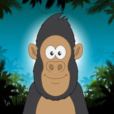 Cute cartoon gorilla in front of jungle background Royalty Free Stock Images