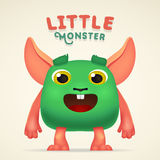 Cute Cartoon Green alien Creature character with little monster lettering. Fun Fluffy mutant rabbit isolated on light Royalty Free Stock Images