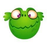 Cute cartoon green alien head. Vector illustration for children book, sticker, print. Stock Images