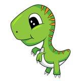 Cute Cartoon of Green Baby T-Rex Dinosaur Stock Photo