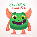 Cute Cartoon Green Creature character with yes i am a monster lettering. Fun Fluffy mutant rabbit isolated on light Stock Photo