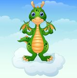 Cute cartoon green dragon giving thumbs up on the cloud vector illustration