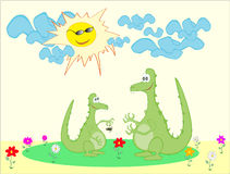 Cute cartoon green dragons Royalty Free Stock Image