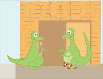 Cute cartoon green dragons Stock Photos