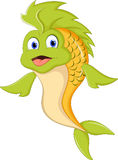Cute cartoon green fish Stock Photos