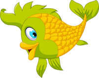 Cute cartoon green fish posing Stock Image