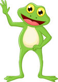 Cute cartoon green frog waving hand Stock Images