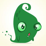 Cute cartoon green ghost. Vector Halloween monster character isolated Stock Photos