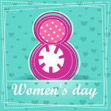 Cute cartoon greeting card, Happy Women`s Day Royalty Free Stock Photography