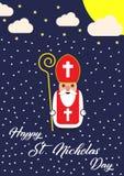 Cute cartoon greeting card with Saint Nicholas character.  Royalty Free Stock Image