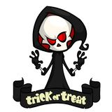 Cute cartoon grim reaper isolated on white. Cute Halloween skeleton death character icon. Cute cartoon grim reaper isolated on white. Cute Halloween skeleton stock illustration