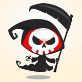 Cute cartoon grim reaper with scythe isolated on white. Cute Halloween skeleton death character icon Royalty Free Stock Image