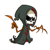 Cute cartoon grim reaper with scythe isolated on white. Cute Halloween skeleton death character icon. Stock Photo