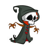 Cute cartoon grim reaper with scythe isolated on white. Cute Halloween skeleton death character icon. Cute cartoon grim reaper with scythe isolated on white vector illustration
