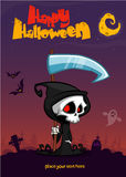 Cute cartoon grim reaper with scythe poster for Halloween party. Stock Photography